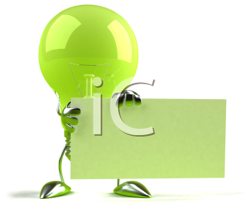 Royalty Free 3d Clipart Image of a Green Light Bulb Holding a Sign