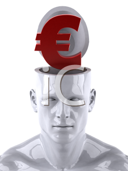 Royalty Free 3d Clipart Image of a Male Thinking About a Euro Sign