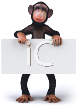 Royalty Free 3d Clipart Image of a Monkey Holding and Pointing to a Sign