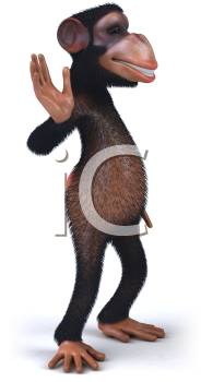 Royalty Free 3d Clipart Image of a Monkey Waving