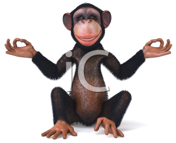 Royalty Free Clipart Image of a Chimpanzee Doing Yoga
