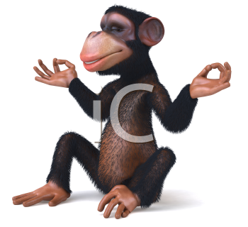 Royalty Free Clipart Image of a Monkey Doing Yoga