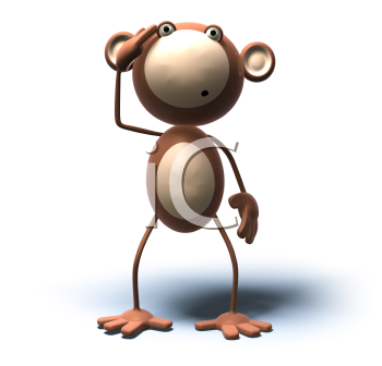 Royalty Free 3d Clipart Image of a Monkey