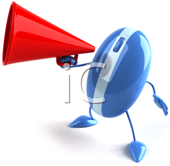 Royalty Free Clipart Image of a Computer Mouse With a Megaphone
