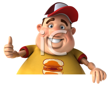 Royalty Free Clipart Image of an Overweight Guy Giving a Thumbs Up