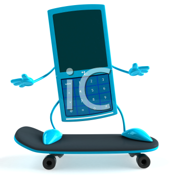 Royalty Free 3d Clipart Image of a Cell Phone Riding a Skateboard