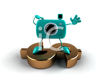 Royalty Free 3d Clipart Image of a Camera Standing on a Dollar Sign