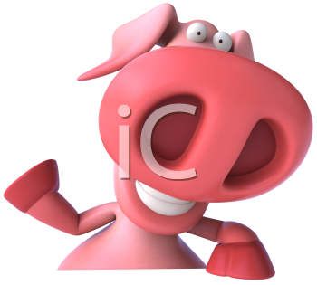 Royalty Free Clipart Image of a Pig Waving