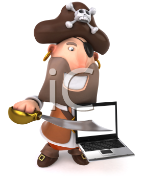 Royalty Free Clipart Image of a Pirate With a Sword and a Laptop