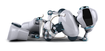 Royalty Free Clipart Image of a Robot Lying Down