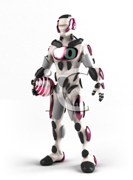 Royalty Free 3d Clipart Image of a Robot Holding a Ball