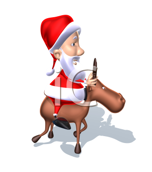 Royalty Free 3d Clipart Image of Santa Riding a Reindeer