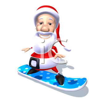 Royalty Free 3d Clipart Image of Santa Riding a Snowboard