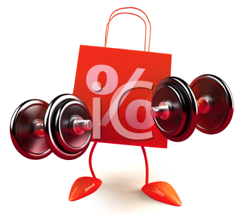 Royalty Free 3d Clipart Image of Shopping Bags with Percentage Signs on Them Lifting Dumbbells