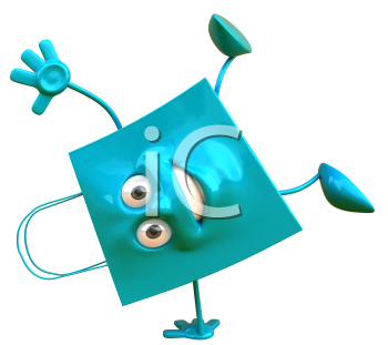 Royalty Free Clipart Image of a Blue Bag Doing Handstands