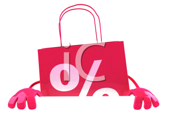 Royalty Free 3d Clipart Image of a Shopping Bag with a Percentage Sign on It