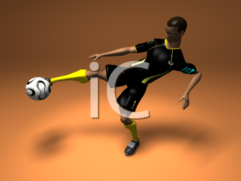 Royalty Free 3d Clipart Image of an African American Male Playing Soccer