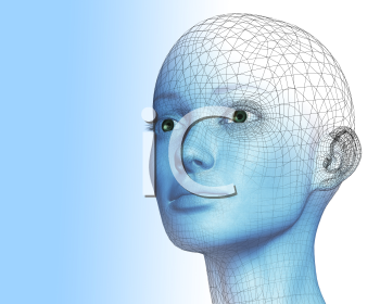 Royalty Free 3d Clipart Image of a Bald Woman's Head