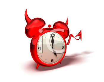 Royalty Free 3d Clipart Image of a Red Devil Alarm Clock