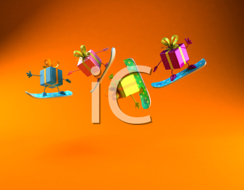 Royalty Free 3d Clipart Image of Shiny Gifts on Snowboards