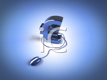 Royalty Free 3d Clipart Image of a Euro Sign Attached to a Computer Mouse