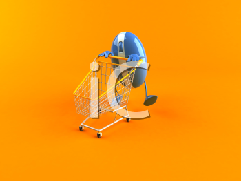 Royalty Free 3d Clipart Image of a Computer Mouse Pushing a Shopping Cart