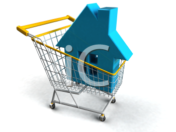 Royalty Free 3d Clipart Image of a House in a Shopping Cart