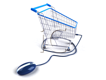Royalty Free 3d Clipart Image of a Computer Mouse Attached to a Shopping Cart