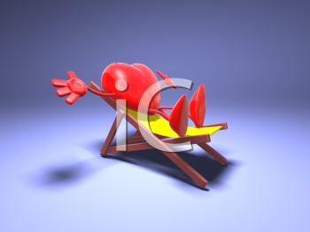 Royalty Free 3d Clipart Image of a Heart Sitting in a Lounge Chair