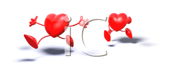 Royalty Free 3d Clipart Image of a Heart Chasing Another Heart