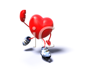 Royalty Free 3d Clipart Image of a Heart Rollerblading