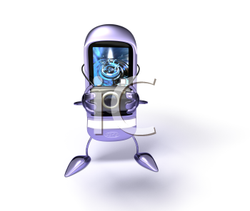Royalty Free 3d Clipart Image of a Cell Phone Holding a Camera