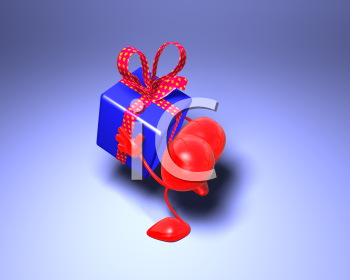 Royalty Free 3d Clipart Image of a Heart Holding a Gift