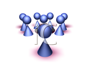 Royalty Free 3d Clipart Image of Cone Figures Listening to a Cone Figure Wearing a Headset