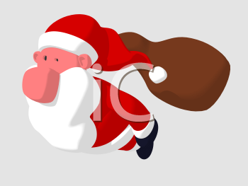 Royalty Free 3d Clipart Image of Santa and His Toy Sack