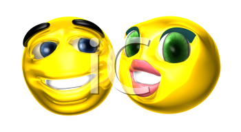 Royalty Free 3d Clipart Image of Two Smiley Emoticons