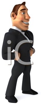 Royalty Free Clipart Image of a Businessman Standing With His Hands on His Hips