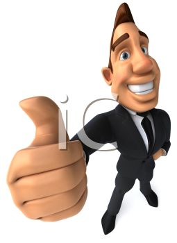 Royalty Free Clipart Image of a Businessman Giving a Thumbs Up