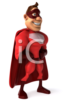 Royalty Free Clipart Image of a Superhero Standing Sideways