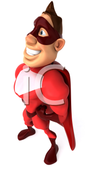 Royalty Free Clipart Image of a Side View of a Superhero