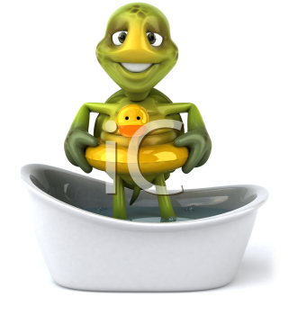 Royalty Free Clipart Image of a Turtle in the Bathtub With a Ducky Ring