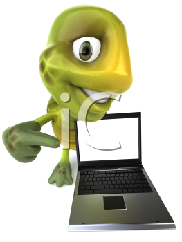 Royalty Free 3d Clipart Image of a Turtle Holding a Computer Laptop