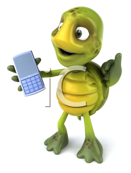 Royalty Free Clipart Image of a Turtle and a Cellphone