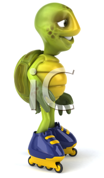 Royalty Free Clipart Image of a Turtle on Rollerblades
