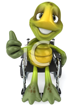 Royalty Free Clipart Image of a Turtle in a Wheelchair Giving a Thumbs Up