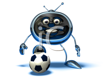 Royalty Free 3d Clipart Image of a TV and a Soccer Ball