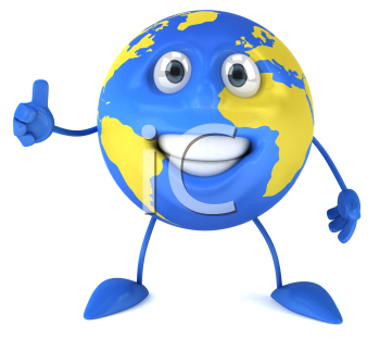 Royalty Free Clipart Image of the World Giving a Thumbs Up