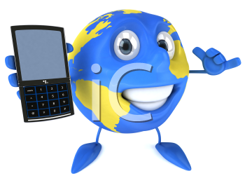 Royalty Free Clipart Image of a Globe With a Cellphone