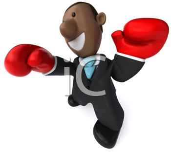 Royalty Free Clipart Image of an African American Businessman in Boxing Gloves