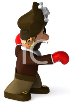 Royalty Free Clipart Image of a Fighting Pirate
